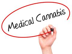 Man Hand writing Medical Cannabis with black marker on visual screen - stock photo