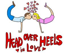 Stock Illustration of Head Over Heels Couple in Love