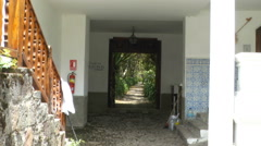 Hacienda Courtyard Zooming to the Path to the Garden Stock Footage