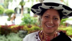People Faces Ecuador Saraguro Woman Portrait Smile Stock Footage