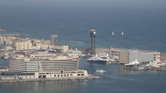 4K Aerial view old Port Vell Barceloneta yacht sail Barcelona tourism emblem day Stock Footage