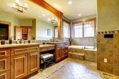 Luxury master bathroom with lots of space. - stock photo