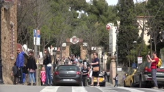 4K Tourist people walk Park Guell Barcelona landmark tourism attraction traffic  Stock Footage