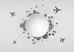 Illustration of airplane with blank round area Stock Illustration