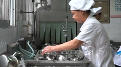 China employment, workers clean dishes and bowls, automatic dishwasher, Asia Stock Footage