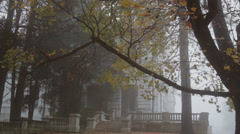 Fog, wind and rain at old mansion Stock Footage