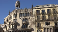 4K Amazing old architecture Barcelona downtown ornamental sculpture facade day   Stock Footage