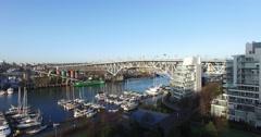 Aerial back sweep granville bridge Stock Footage