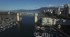 Aerial left sweep of the burrard bridge Stock Footage