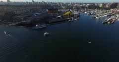 Aerial rising reveal of Granville Island Stock Footage
