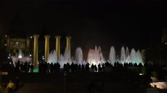4K Tourist people enjoy Magic Fountain show Barcelona landmark tourism icoic fun Stock Footage