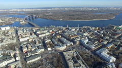 flight over the down town. Kiev - stock footage