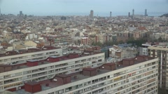 Stock Video Footage of 4K Panoramic view Barcelona crowded downtown building tower seascape day emblem
