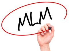 Man Hand writing  MLM (Multi-Level Marketing) with black marker on visual scr Kuvituskuvat