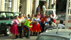 Paraders in San Antonio de Ibarra Pose for a Foamy Picture Stock Footage