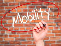 Man Hand writing Mobility with black marker on visual screen - stock photo