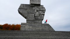Westerplatte Monument of Polish defenders, Gdansk Stock Footage