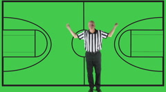 Loose Ball Foul,  green screen, court - stock footage