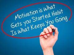 Stock Photo of Man Hand writing Motivation is What Gets you Started Habit Is What Keeps You