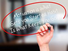 Man Hand writing Motivation is What Gets you Started Habit Is What Keeps You  - stock photo