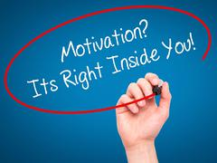 Man Hand writing Motivation? Its Right Inside You!  with black marker on visu - stock photo