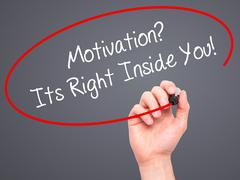 Man Hand writing Motivation? Its Right Inside You!  with black marker on visu Stock Photos