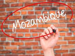 Stock Photo of Man Hand writing Mozambique  with black marker on visual screen