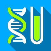 Genetic Analysis Tube Flat Long Shadow Square Icon - stock illustration