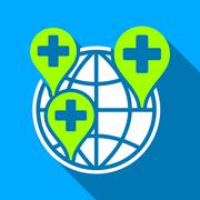 Stock Illustration of Global Clinic Company Flat Long Shadow Square Icon