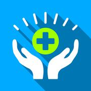 Stock Illustration of Medical Prosperity Hands Flat Long Shadow Square Icon