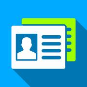Patient Accounts Flat Long Shadow Square Icon - stock illustration
