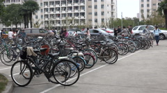 Bicycle parking lot at the campus of the Shanghai University, China education Stock Footage