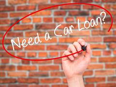 Man Hand writing Need a Car Loan? with black marker on visual screen - stock photo