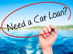 Man Hand writing Need a Car Loan? with black marker on visual screen Stock Photos
