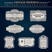 Calligraphic old vintage elements labels and frames - stock illustration