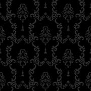Black Seamless vintage background. Baroque floral Pattern Piirros