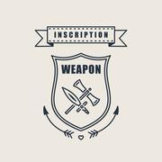 Retro vector vintage sword badges, shields, crests - stock illustration