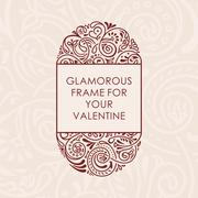 Floral vector calligraphic frame. Design for wedding and greeting cards Stock Illustration