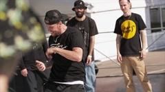 Hip hop dancers on stage. Summer festival. Slow motion Stock Footage