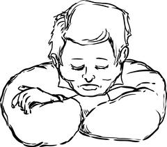 Outlined napping man with chin on arms Stock Illustration