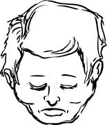 Outline of middle aged male with closed eyes over white Stock Illustration