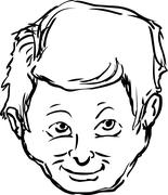 Grinning Face of Man Outline Stock Illustration