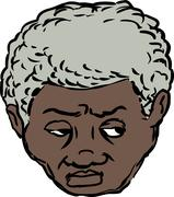 Head of worried Black man - stock illustration