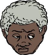 Head of worried Black man Stock Illustration