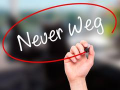 Man Hand writing Neuer Weg  (New Way in German) with black marker on visual s - stock photo