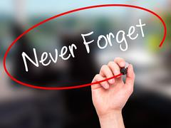 Man Hand writing Never Forget  with black marker on visual screen - stock photo