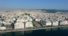Aerial shot of Thessaloniki city, Greece Stock Footage