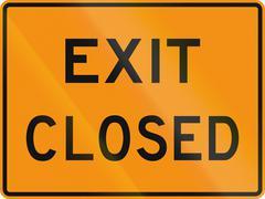 United States MUTCD road sign - Exit closed - stock illustration