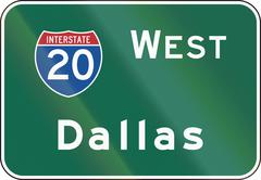 United States MUTCD road sign - Interstate West Dallas - stock illustration