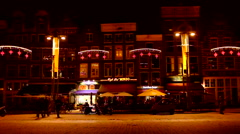 Medieval houses at christmas in Amsterdam Netherlands by night Stock Footage